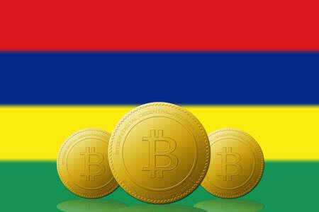 Three Bitcoins cryptocurrency with Mauritius flag on background. 版權商用圖片