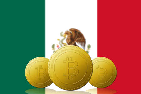 Three Bitcoin cryptocurrency with MEXICO flag on background. 版權商用圖片