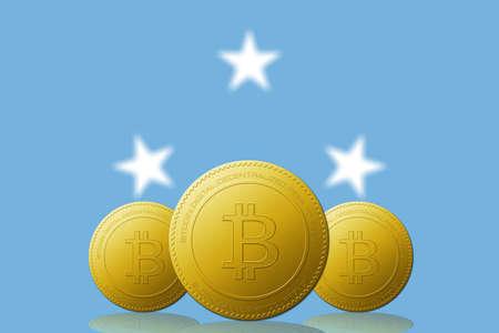 Three Bitcoins cryptocurrency with Micronesia flag on background. 版權商用圖片