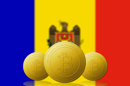 Three Bitcoins cryptocurrency with Moldova flag on background. 版權商用圖片