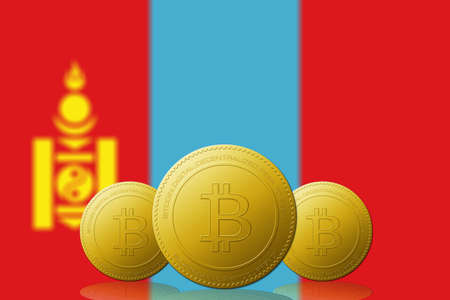 Three Bitcoins cryptocurrency with Mongolia flag on background. 版權商用圖片