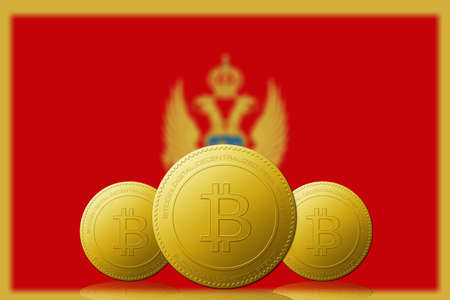 Three Bitcoins cryptocurrency with Montenegro flag on background.