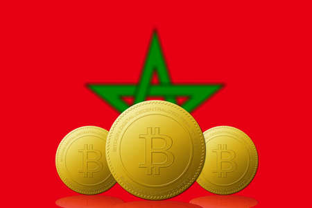Three Bitcoins cryptocurrency with Morocco flag on background.