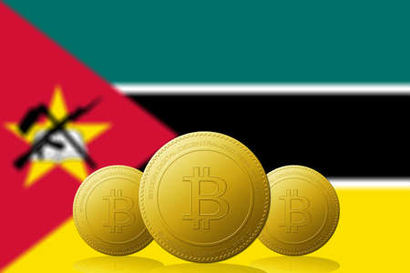 Three Bitcoins cryptocurrency with Mozambique flag on background.