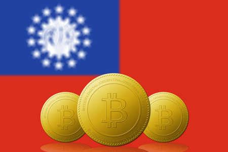 Three Bitcoins cryptocurrency with Myanmar flag on background. 版權商用圖片