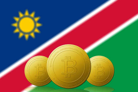 Three Bitcoins cryptocurrency with Namibia flag on background. 版權商用圖片