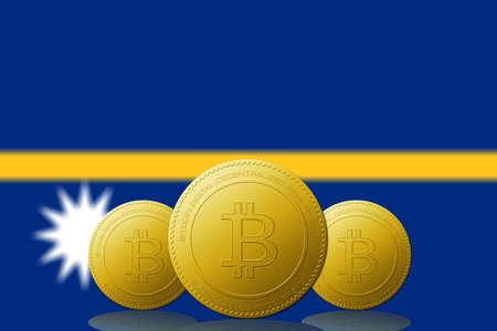 Three Bitcoins cryptocurrency with Nauru flag on background.