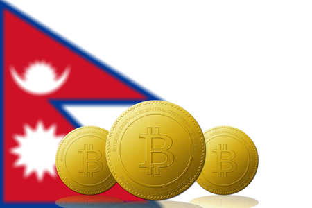 Three Bitcoins cryptocurrency with Nepal flag on background.