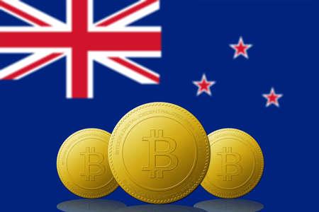 Three Bitcoins cryptocurrency with New Zealand flag on background. 版權商用圖片