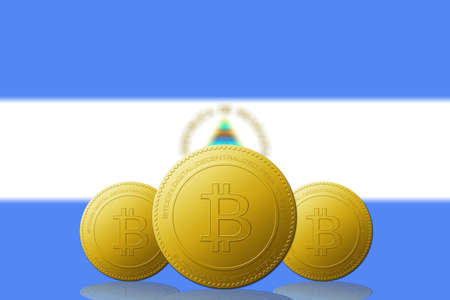 Three Bitcoins cryptocurrency with Nicaragua flag on background.