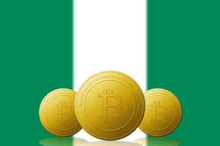 Three Bitcoins cryptocurrency with Nigeria flag on background.