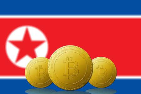 Three Bitcoins cryptocurrency with North Korea flag on background. 版權商用圖片