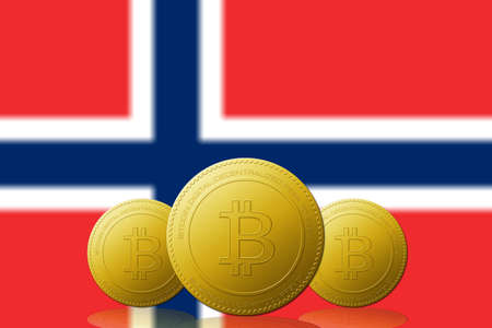Three Bitcoins cryptocurrency with Norway flag on background.