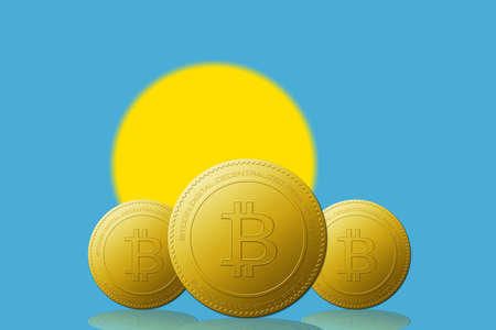 Three Bitcoins cryptocurrency with Palau flag on background.