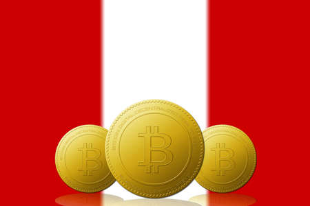Three Bitcoins cryptocurrency with Peru flag on background.