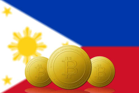 Three Bitcoins cryptocurrency with Philippines flag on background. 版權商用圖片
