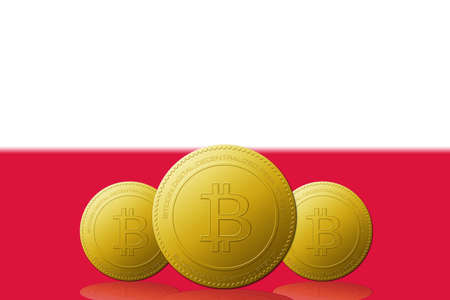 Three Bitcoins cryptocurrency with Poland flag on background.