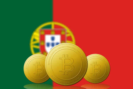 Three Bitcoins cryptocurrency with  Portugal flag on background.