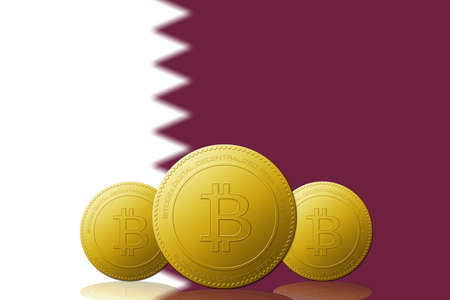 Three Bitcoins cryptocurrency with Qatar flag on background.