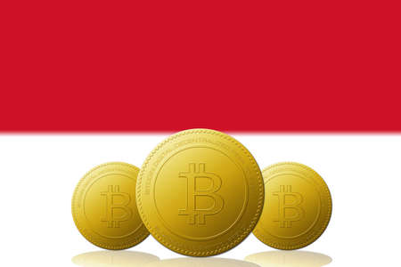 Three Bitcoins cryptocurrency with Monaco flag on background.