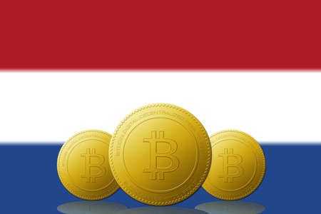 Three Bitcoins cryptocurrency with Netherlands flag on background. 版權商用圖片