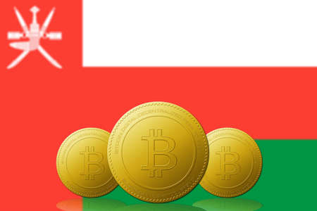 Three Bitcoins cryptocurrency with Oman flag on background.