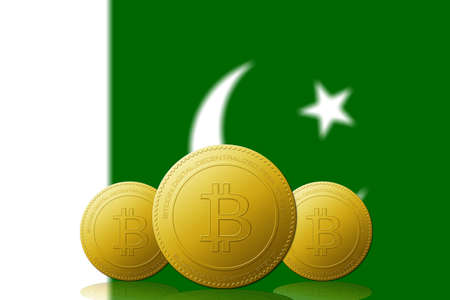 Three Bitcoins cryptocurrency with Pakistan flag on background.