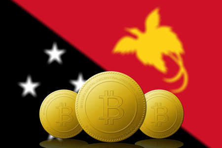 Three Bitcoins cryptocurrency with Papua New Guinea flag on background. 版權商用圖片