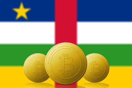 Three Bitcoins cryptocurrency with Republic of Central Africa flag on background.