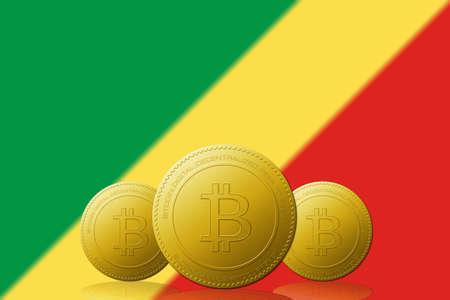 Three Bitcoins cryptocurrency with Republic of Congo flag on background. 版權商用圖片