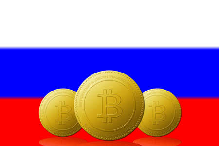 Three Bitcoins cryptocurrency with Russia flag on background.