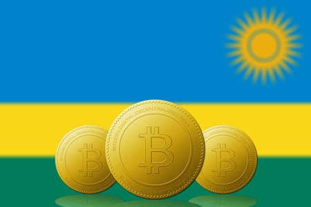 Three Bitcoins cryptocurrency with Rwanda flag on background. 版權商用圖片
