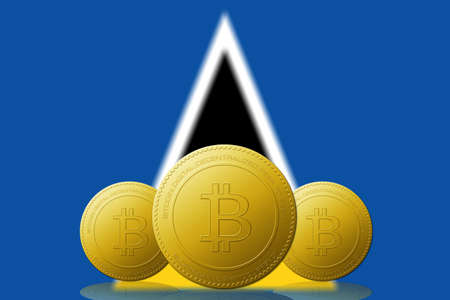 Three Bitcoins cryptocurrency with Saint lucia flag on background.