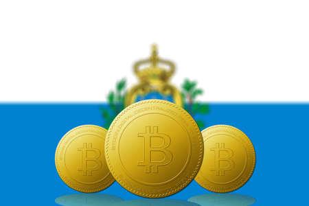 Three Bitcoins cryptocurrency with Saint Marino flag on background. 版權商用圖片