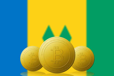 Three Bitcoins cryptocurrency with Saint Vincent and the Grenadines flag on background.