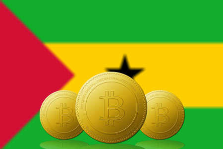Three Bitcoins cryptocurrency with Sao Tome and Principe flag on background.