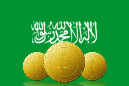 Three Bitcoins cryptocurrency with Saudi Arabia flag on background.
