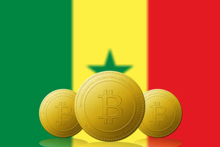 Three Bitcoins cryptocurrency with Senegal flag on background.