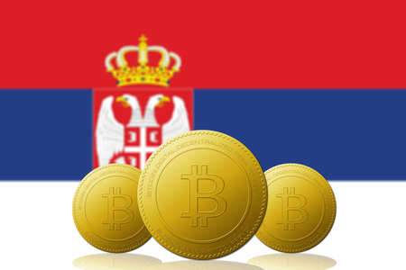Three Bitcoins cryptocurrency with Serbia flag on background. 版權商用圖片 - 104937825