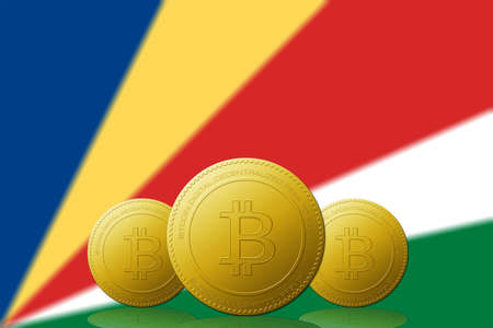 Three Bitcoins cryptocurrency with Seychelles flag on background. Stock fotó
