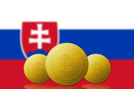 Three Bitcoins cryptocurrency with Slovakia flag on background. 版權商用圖片