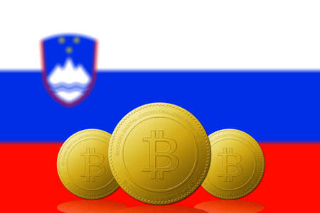 Three Bitcoins cryptocurrency with Slovenia flag on background.