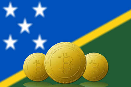 Three Bitcoins cryptocurrency with Solomon Islands flag on background.
