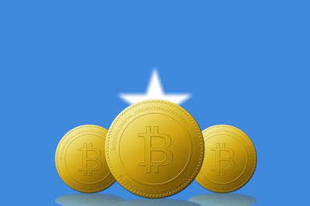 Three Bitcoins cryptocurrency with Somalia flag on background. 版權商用圖片
