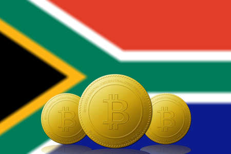 Three Bitcoins cryptocurrency with South Africa flag on background.