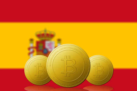 Three Bitcoins cryptocurrency with SPAIN flag on background.