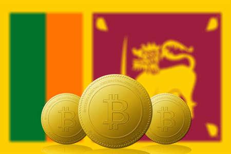 Three Bitcoins cryptocurrency with Sri Lanka flag on background.