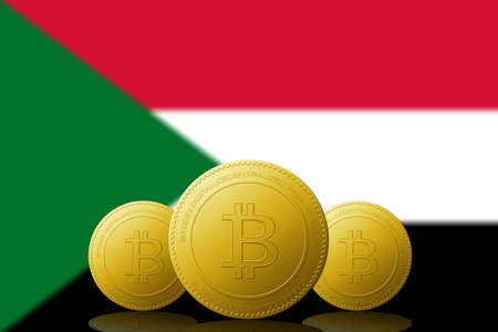Three Bitcoins cryptocurrency with Sudan flag on background.