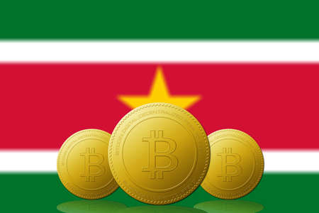 Three Bitcoins cryptocurrency with Surinam flag on background.