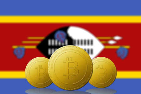 Three Bitcoins cryptocurrency with Swaziland flag on background.